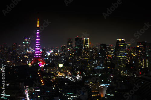 Foto op Aluminium Aziatische Plekken Aerial view over Tokyo tower and Tokyo cityscape view from Tokyo World Trade Center at night, Tokyo, Japan.