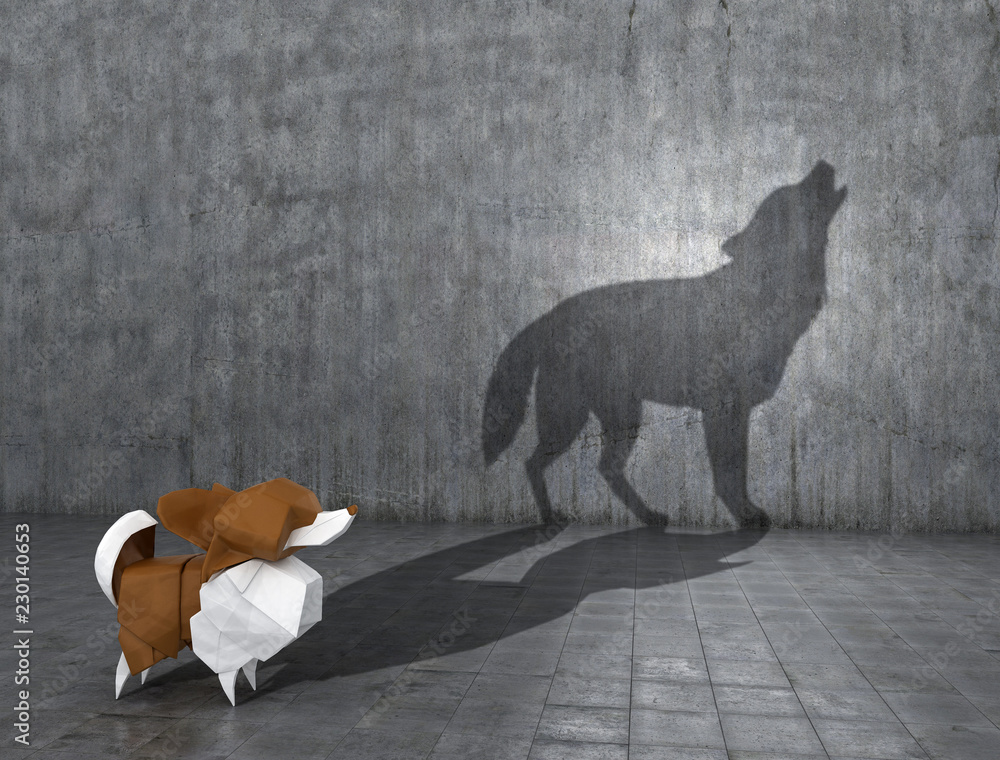 Fototapety, obrazy: Concept of hidden potential. A paper figure of a dog that fills the shadow of a wolf. 3D illustration