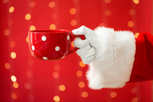 Santa Holding A Coffee Cup On ...