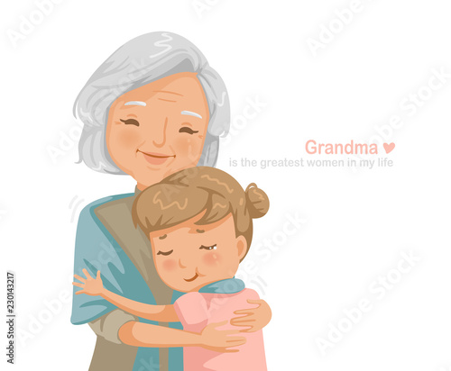 Fotografia Granny and niece are hugging each other