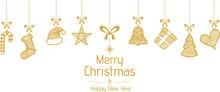 Christmas Symbols Hanging Gold Isolated Background