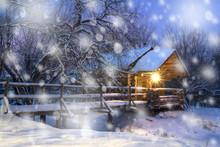 Snowy Night On Christmas Eve.