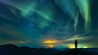 The man standing on the mountain on the northern light background. time lapse