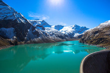 The Moosersperre Dam Stores Water Of The Mooserboden Reservoir In The Province Salzburg In Austria. The Water Is Collected From Meltwater Of The Pasterze Glacier Of The Grossglockner Mountain.