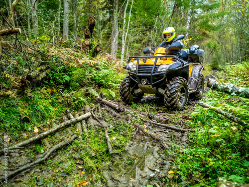 Off-road. A man drives through the marshy part of the forest. ATV. Travel through the forest. All-terrain vehicle. A man controls the ATV.