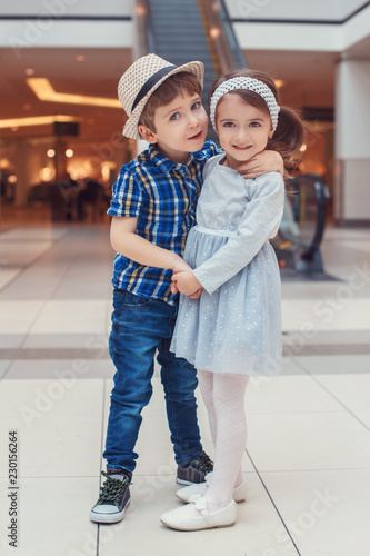 Group Portrait Of Two White Caucasian Cute Adorable Funny Children Boy And Girl Hugging Kissing Love Friendship Childhood Concept Best Friends Forever Buy This Stock Photo And Explore Similar Images At