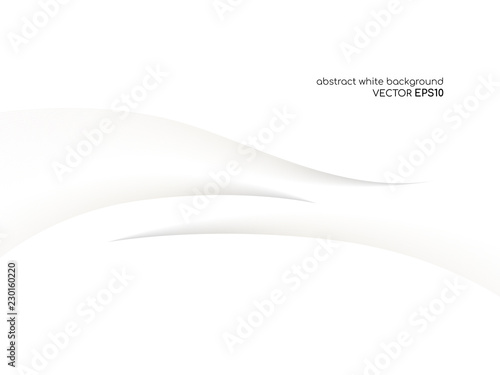 Abstract white background 3D concave wave texture smooth curve line with shadow Canvas Print