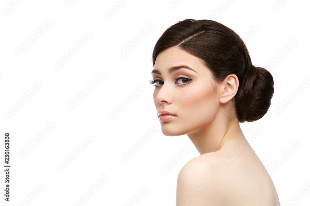 Fototapeta beautiful girl with hairdo isolated on white