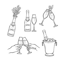 Champagne Vector Illustration Set In Black And White Sketch Style - Isolated Various Hand Drawn Bottles And Wineglasses With Fizzy Alcohol Drink For Holiday Celebration Or Party.