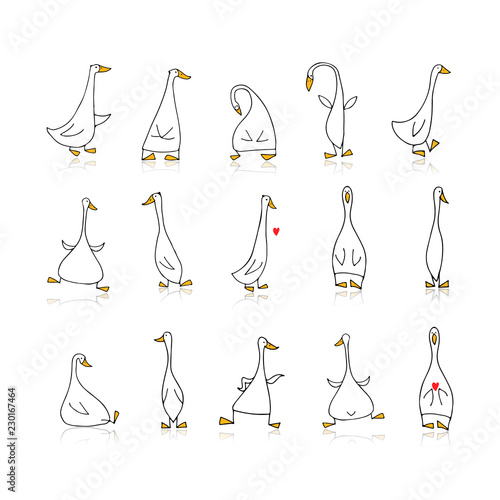 Tablou Canvas Funny goose set, sketch for your design