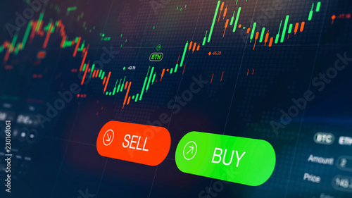 Valokuva  Futuristic stock exchange scene with chart, numbers and BUY and SELL options (3D
