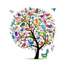 Tree With Birds, Sketch For Yo...