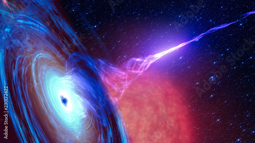 Photo sur Toile Spirale Abstract space wallpaper. Black hole with nebula over colorful stars and cloud fields in outer space. Elements of this image furnished by NASA.