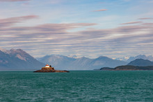 Eldred Rock Lightouse Built In 1905 On The Sullivan Island, Lynn Canal . Haines Alaska.