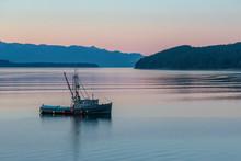 Boat In Juneau Harbor In Sunrise. Juneau Alaska