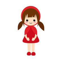 Simple Vector Of Little Red Riding Hood Standing With Her Red Dress And Dark Brown Hair With Two Pigtails.