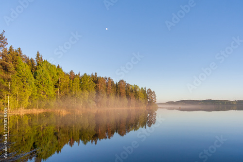 Fog over the lake in Karelia
