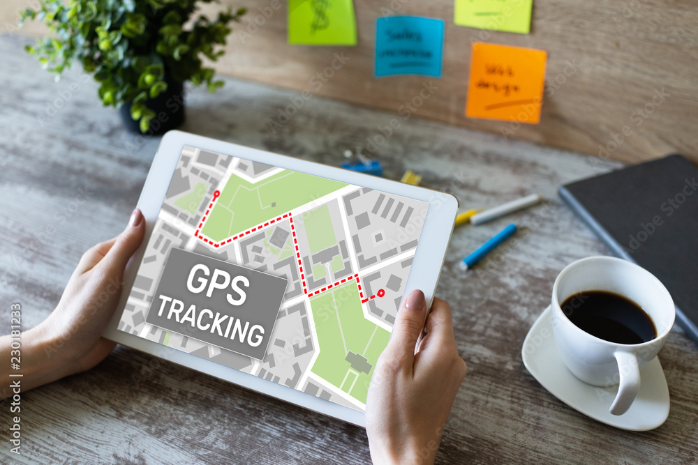 Fototapeta GPS (Global positioning system) tracking map on device screen.