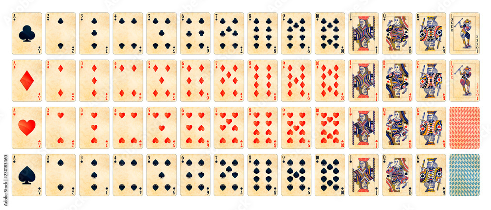 Fototapety, obrazy: Full set of detailed colorful poker cards with old paper texture isolated on white