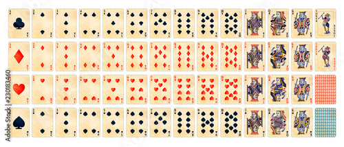 Valokuva  Full set of detailed colorful poker cards with old paper texture isolated on whi