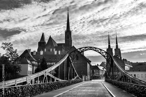 church of the Holy Cross and St Bartholomew  in Wroclaw, Poland. Black and white photo