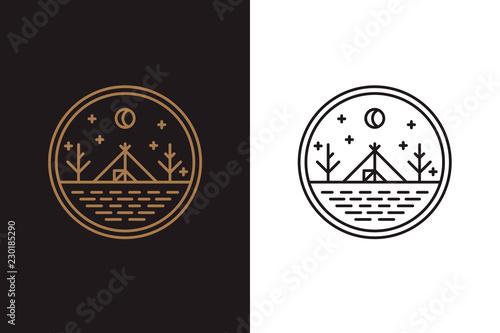 Canvas Print The wigwam on the lake shore, round logo