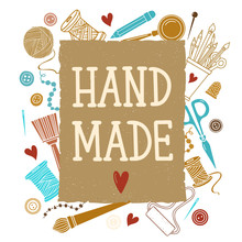 Arts And Crafts Sewing Hand Drawn Supplies, Tools