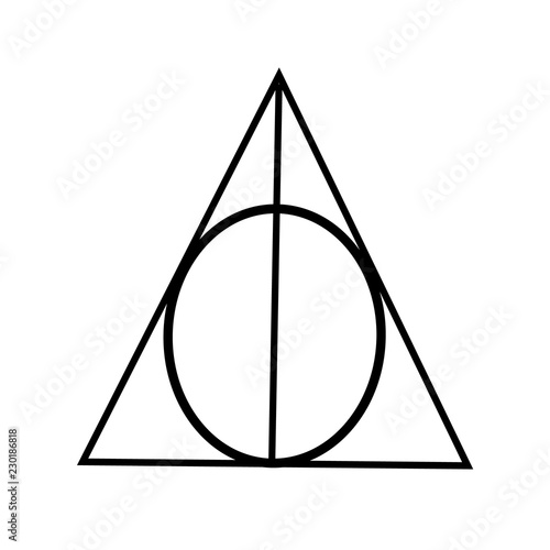 Flat vector of the symbol of the three relics of Harry Potter.