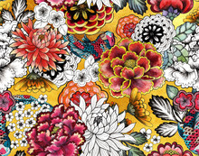 Seamless Asian Traditional Patterns. Japanese Painted Flowers Peonies, Chrysanthemums, Dahlias