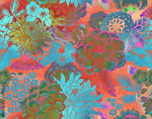 Seamless asian traditional patterns Canvas Print