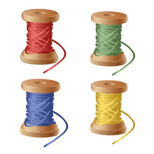 Set Of Spool Of Cartoon Colorf...