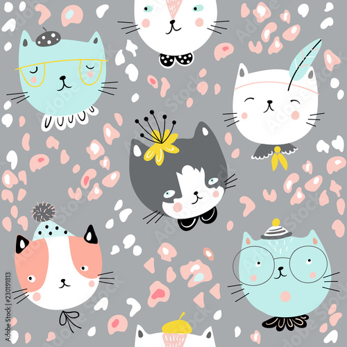 fototapeta na lodówkę Child seamless pattern with cute cat faces. Vector baby design for fashion apparels, fabric, textile; wrapping and wallpaper.