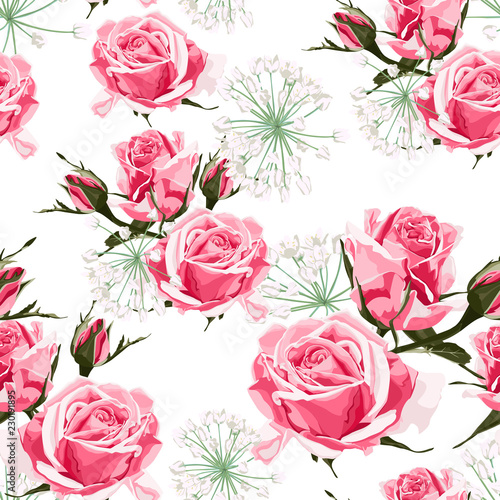 Pink roses and white herbs seamless pattern. Vintage white background. © Iuliia