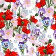 Summer spring wild pink, violet flowers, red poppy and blue forget-me-not flowers. White background. Seamless floral pattern. Textile pattern. Field wild of flowers.