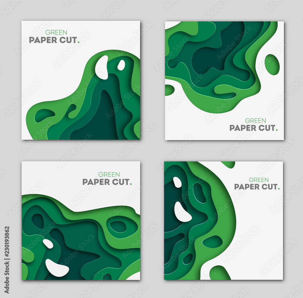 Fototapeta Banners set 3D abstract background, green paper cut shapes. Vector design layout for business presentations, flyers, posters and invitations. Carving art, environment and ecology elements