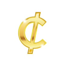 Golden Cent Symbol Isolated On...