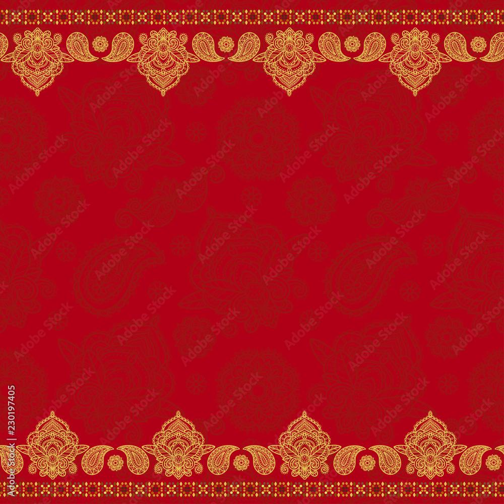 Fototapeta Sari indian seamless pattern