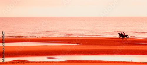 cavalcare sulla spiaggia al tramonto