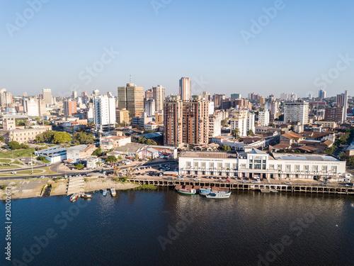 Panoramic view of skyscrapers skyline of Latin American capital of Asuncion city, Paraguay Wallpaper Mural