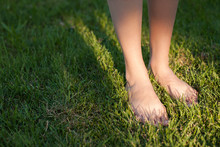 Close Up On Female Feet Standi...