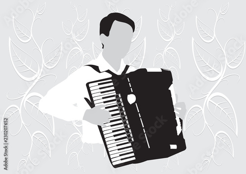 Fotografia, Obraz  Silhouette musician, accordion player on white background, vector illustration