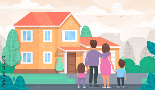Happy family is looking at their new home. Vector illustration Canvas-taulu