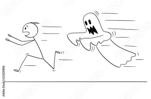 Cartoon Stick Drawing Conceptual Illustration Of Frightened Man