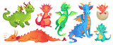 Fototapeta Dinusie - Fairy dragons. Funny fairytale dragon, cute magic lizard with wings and baby fire breathing serpent cartoon isolated vector set