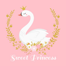 Cute Swan Princess. Beautiful ...