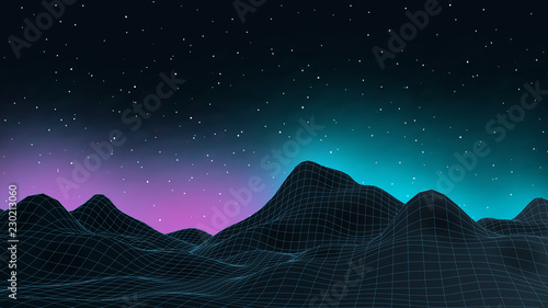 Fotobehang Zwart 3d connection background. Wireframe topography landscape. Music equalizer concept. Blockchain and crypto currency technology background. Vector illustration