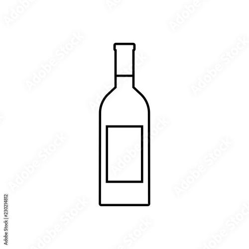 Fototapeta Wine bottle outline icon, modern minimal flat design style, vector illustration. obraz