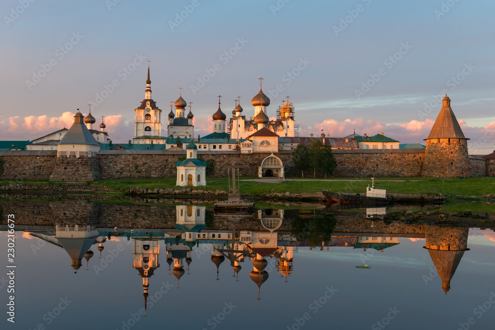 Fototapety, obrazy: View on Solovetsky Monastery from the Bay of well-being, Russia. Solovetsky Monastery is on the UNESCO's World Heritage List.