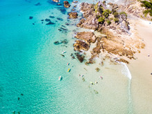 The Pass And Wategoes At Byron Bay From An Aerial View With Blue Water