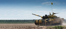 Army Tank. Military Training. Summer Military Exercises. Copyspace
